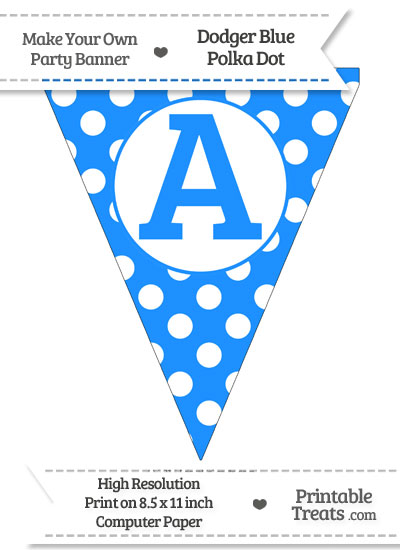 Dodger Blue Polka Dot Pennant Flag Capital Letter A from PrintableTreats.com