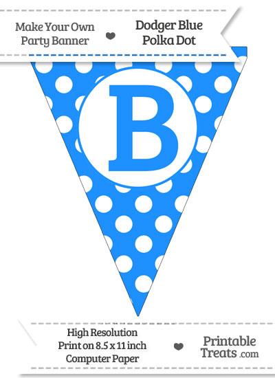 Dodger Blue Polka Dot Pennant Flag Capital Letter B from PrintableTreats.com