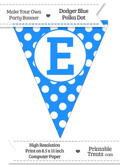 Dodger Blue Polka Dot Pennant Flag Capital Letter E from PrintableTreats.com