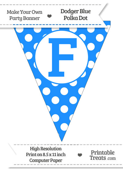 Dodger Blue Polka Dot Pennant Flag Capital Letter F from PrintableTreats.com