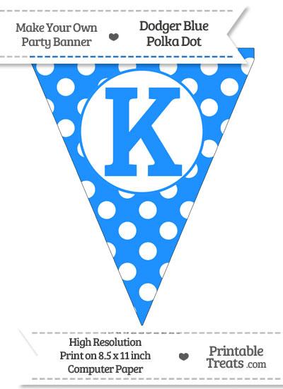 Dodger Blue Polka Dot Pennant Flag Capital Letter K from PrintableTreats.com