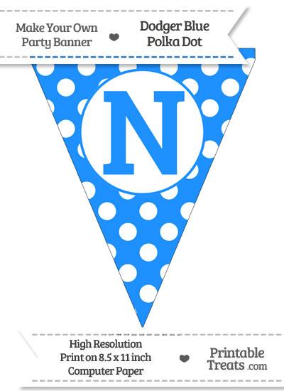 Dodger Blue Polka Dot Pennant Flag Capital Letter N from PrintableTreats.com