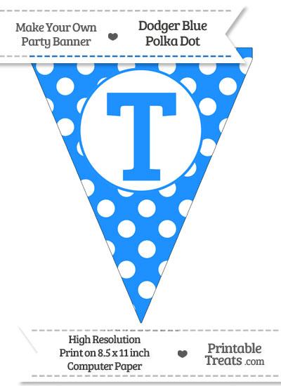 Dodger Blue Polka Dot Pennant Flag Capital Letter T from PrintableTreats.com