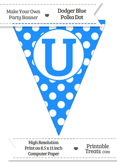 Dodger Blue Polka Dot Pennant Flag Capital Letter U from PrintableTreats.com