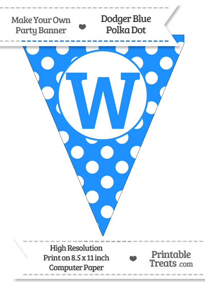 Dodger Blue Polka Dot Pennant Flag Capital Letter W from PrintableTreats.com