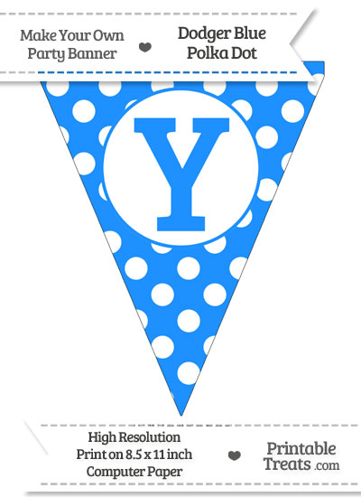 Dodger Blue Polka Dot Pennant Flag Capital Letter Y from PrintableTreats.com