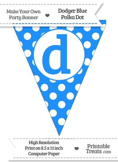 Dodger Blue Polka Dot Pennant Flag Lowercase Letter D from PrintableTreats.com