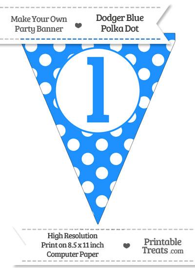 Dodger Blue Polka Dot Pennant Flag Lowercase Letter L from PrintableTreats.com