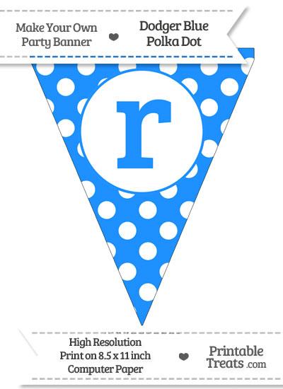 Dodger Blue Polka Dot Pennant Flag Lowercase Letter R from PrintableTreats.com