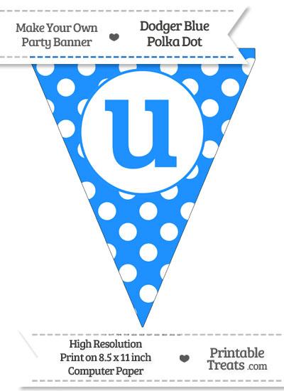 Dodger Blue Polka Dot Pennant Flag Lowercase Letter U from PrintableTreats.com