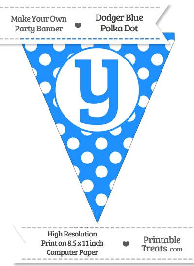 Dodger Blue Polka Dot Pennant Flag Lowercase Letter Y from PrintableTreats.com