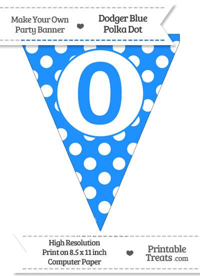 Dodger Blue Polka Dot Pennant Flag Number 0 from PrintableTreats.com