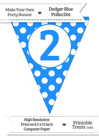 Dodger Blue Polka Dot Pennant Flag Number 2 from PrintableTreats.com