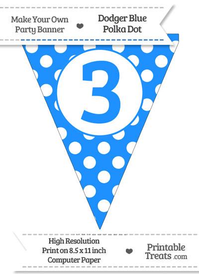 Dodger Blue Polka Dot Pennant Flag Number 3 from PrintableTreats.com