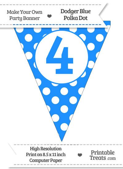 Dodger Blue Polka Dot Pennant Flag Number 4 from PrintableTreats.com