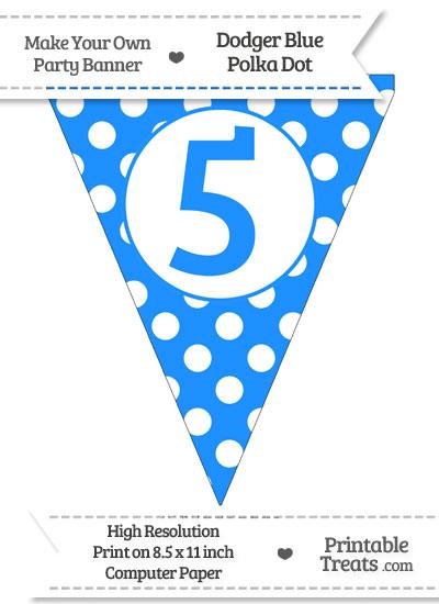Dodger Blue Polka Dot Pennant Flag Number 5 from PrintableTreats.com