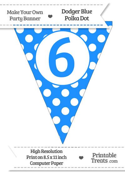 Dodger Blue Polka Dot Pennant Flag Number 6 from PrintableTreats.com