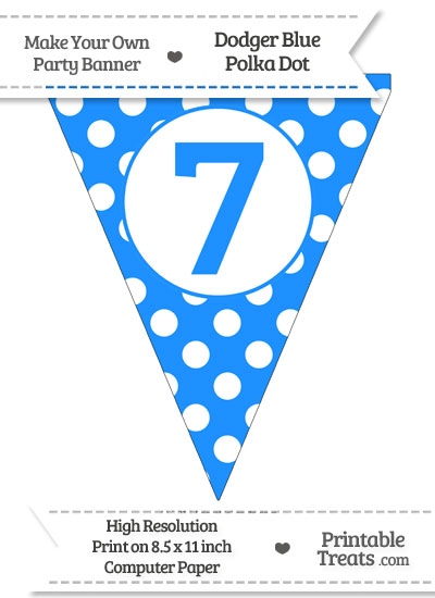 Dodger Blue Polka Dot Pennant Flag Number 7 from PrintableTreats.com