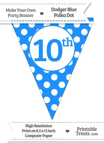 Dodger Blue Polka Dot Pennant Flag Ordinal Number 10th from PrintableTreats.com