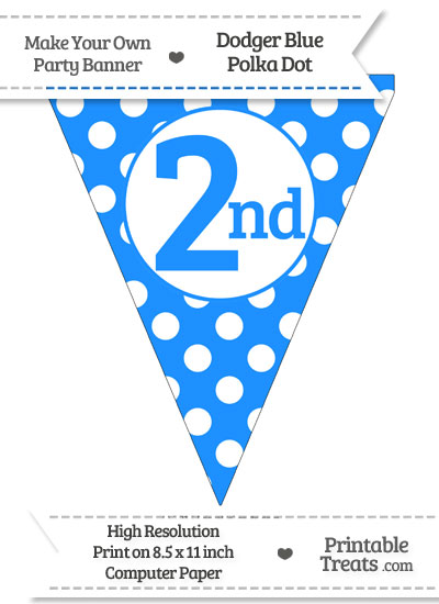 Dodger Blue Polka Dot Pennant Flag Ordinal Number 2nd from PrintableTreats.com