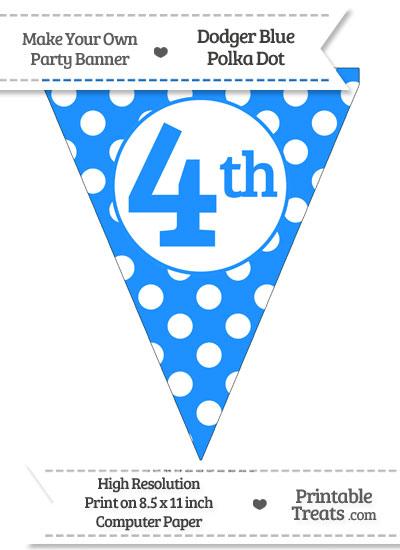 Dodger Blue Polka Dot Pennant Flag Ordinal Number 4th from PrintableTreats.com
