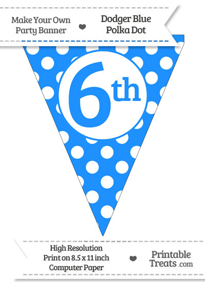 Dodger Blue Polka Dot Pennant Flag Ordinal Number 6th from PrintableTreats.com