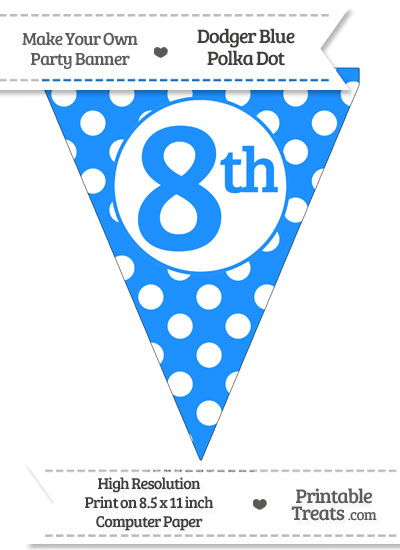 Dodger Blue Polka Dot Pennant Flag Ordinal Number 8th from PrintableTreats.com
