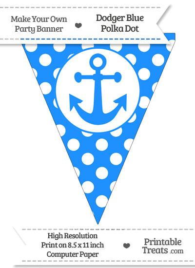 Dodger Blue Polka Dot Pennant Flag with Anchor from PrintableTreats.com
