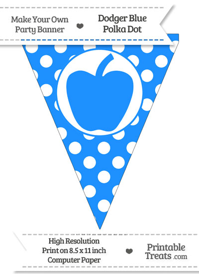 Dodger Blue Polka Dot Pennant Flag with Apple from PrintableTreats.com