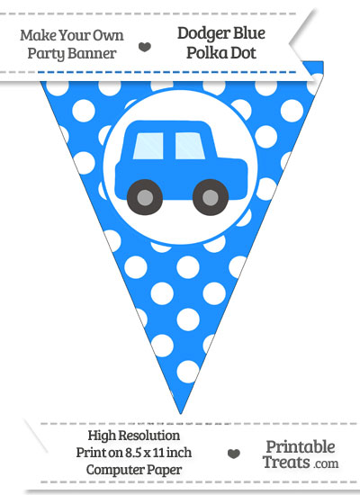 Dodger Blue Polka Dot Pennant Flag with Car Facing Right from PrintableTreats.com