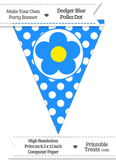 Dodger Blue Polka Dot Pennant Flag with Flower from PrintableTreats.com