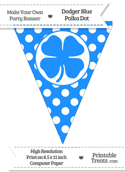 Dodger Blue Polka Dot Pennant Flag with Four Leaf Clover Facing Right from PrintableTreats.com