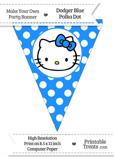 Dodger Blue Polka Dot Pennant Flag with Hello Kitty from PrintableTreats.com