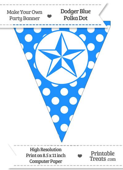 Dodger Blue Polka Dot Pennant Flag with Nautical Star from PrintableTreats.com