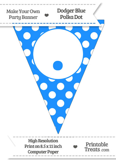 Dodger Blue Polka Dot Pennant Flag with Period from PrintableTreats.com