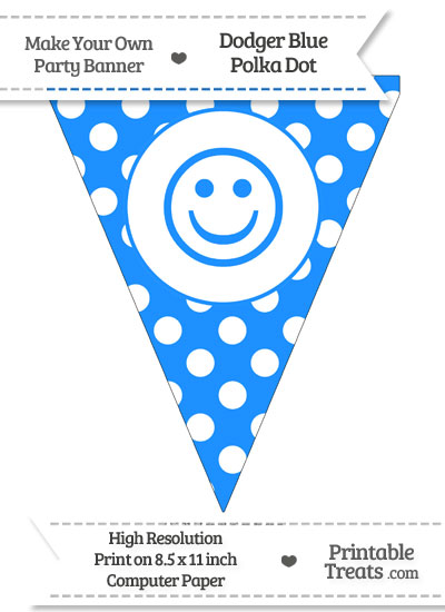 Dodger Blue Polka Dot Pennant Flag with Smiley Face from PrintableTreats.com