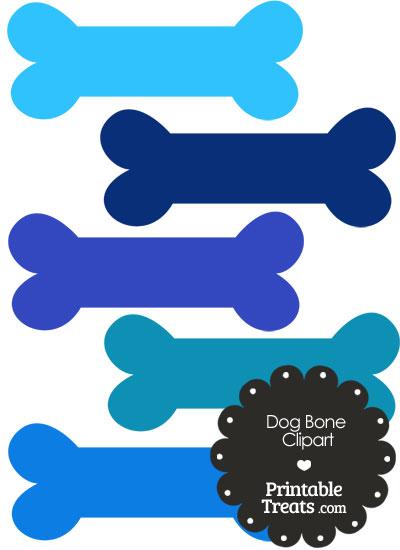 Dog Bone Clipart in Shades of Blue PrintableTreats.com