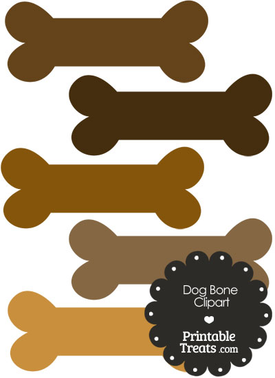 Dog Bone Clipart in Shades of Brown PrintableTreats.com