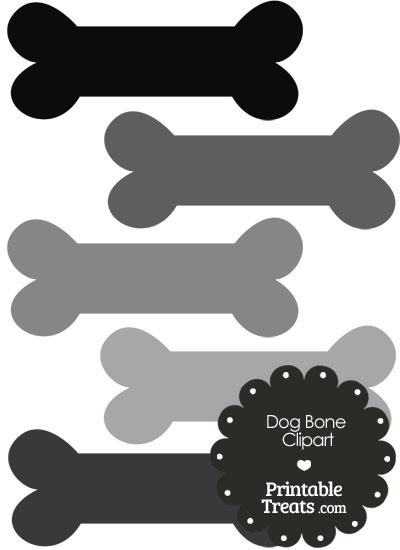Dog Bone Clipart in Shades of Grey PrintableTreats.com