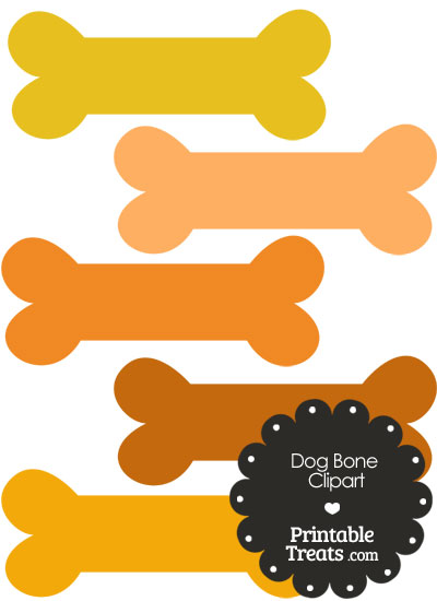 Dog Bone Clipart in Shades of Orange from PrintableTreats.com
