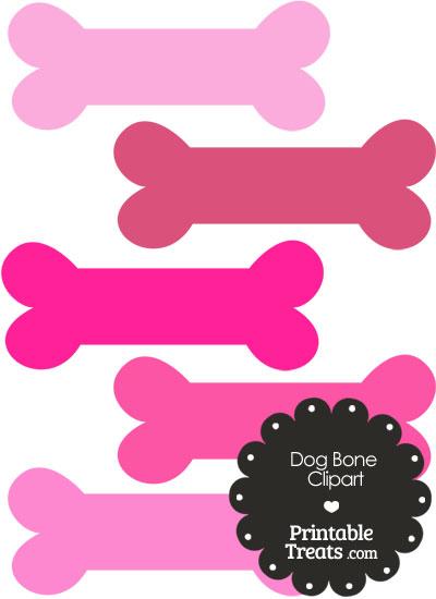 Dog Bone Clipart in Shades of Pink PrintableTreats.com