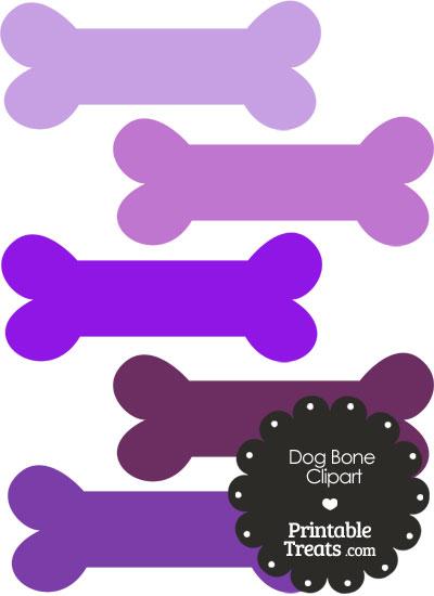 Dog Bone Clipart in Shades of Purple PrintableTreats.com