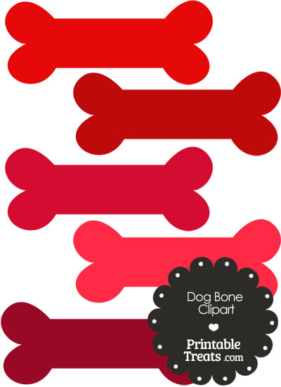 Dog Bone Clipart in Shades of Red from PrintableTreats.com