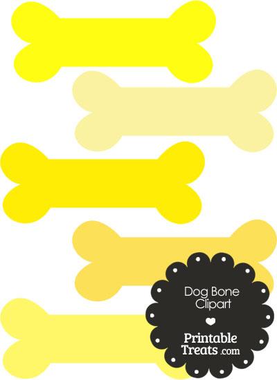 Dog Bone Clipart in Shades of Yellow PrintableTreats.com