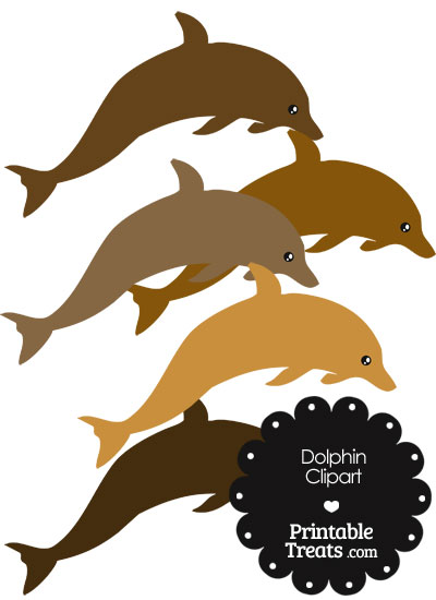 Dolphin Clipart in Shades of Brown from PrintableTreats.com