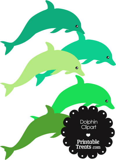Dolphin Clipart in Shades of Green from PrintableTreats.com