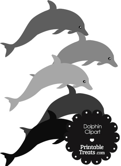 Dolphin Clipart in Shades of Grey from PrintableTreats.com