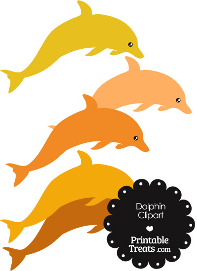 Dolphin Clipart in Shades of Orange from PrintableTreats.com