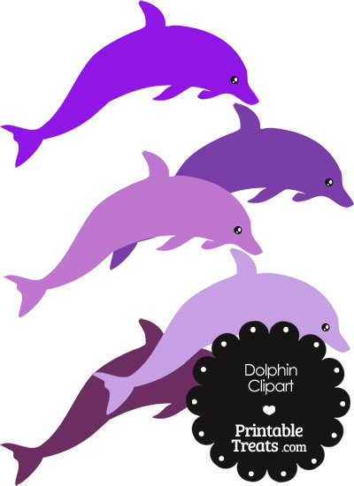 Dolphin Clipart in Shades of Purple from PrintableTreats.com
