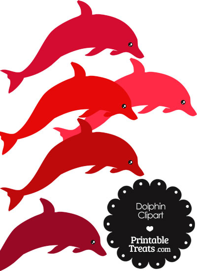 Dolphin Clipart in Shades of Red from PrintableTreats.com
